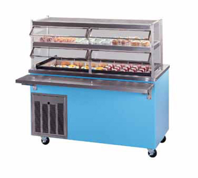 Piper Products R4-CM 6005 60-in Mobile Refrigerated Cold Serving Counter w/ Enclosed Base, Green
