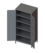 Piper Products 7773 78-in Storage Cabinet w/ 4-Shelves, Stainless