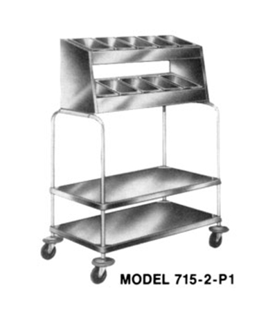 Piper Products 715-2-P4 2-Stack Tray Silver Cart w/ 200 Plate Capacity & 4-Pan Silver Dispenser