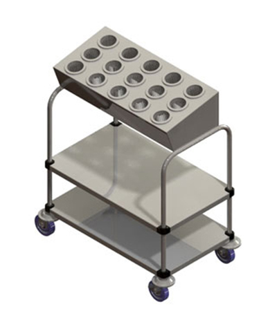 Piper Products 715-2-A15 2-Stack Tray Silver Cart w/ 200 Plate Capacity & 15-Cylinder Silver Dispenser