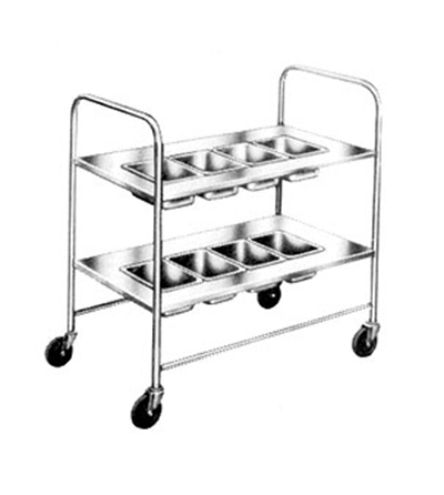 Piper Products 717 2-Shelf Silver Cart w/ 4-Pan Top Shelf & 4-Pan Lower Shelf, 2-Push Handles