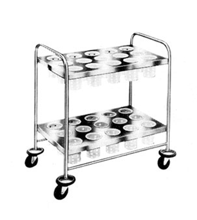Piper Products 719 2-Shelf Silver Cart w/ 30-Cylinder Dispe