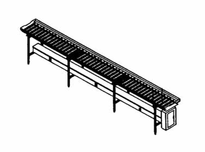 Piper Products SRC14 14-ft Conveyor Tray Make-Up w/ Gravity Operation, PVC Rollers