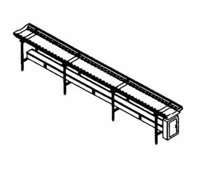 Piper Products SSC-16 16-ft Conveyor Tray Make-Up w/ Nylon Rollers, Stainle