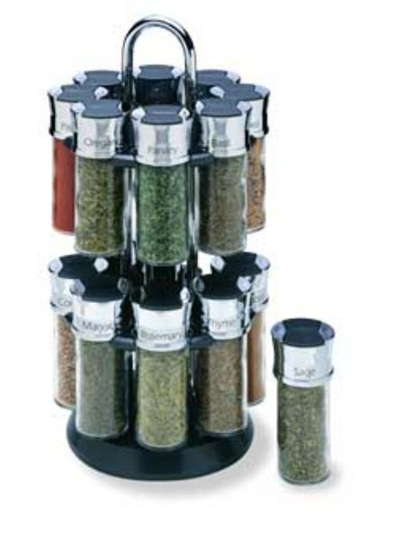 Olde Thompson 25600C Carousel Spice Rack, Holds 16-Glass Jars w/ Chrome & Black Lids