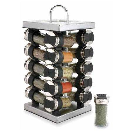 Olde Thompson 25620SS Spice Rack, Revolving, SS, 20 Glass Jars W/Flip-Lids