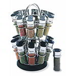 Spice Rack Revolving Flower, Holds 20 Chrome/Black Flip-Top Lid