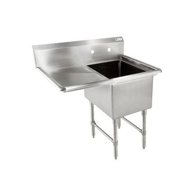 John Boos 1B244-1D24L 52-in Sink, (1) 24x24x14-in Bowl, 24-in Drainboard, 16-ga Stainless Legs, L to R