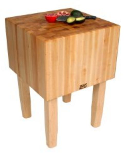 John Boos AA02 Butcher Block Table w/ 16-in Thick Hard Rock Maple Top, 24 x 24-in
