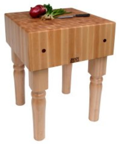 John Boos AB01C Butcher Block Table w/ 10-in Thick Hard Rock Maple Top, 18 x 18-in