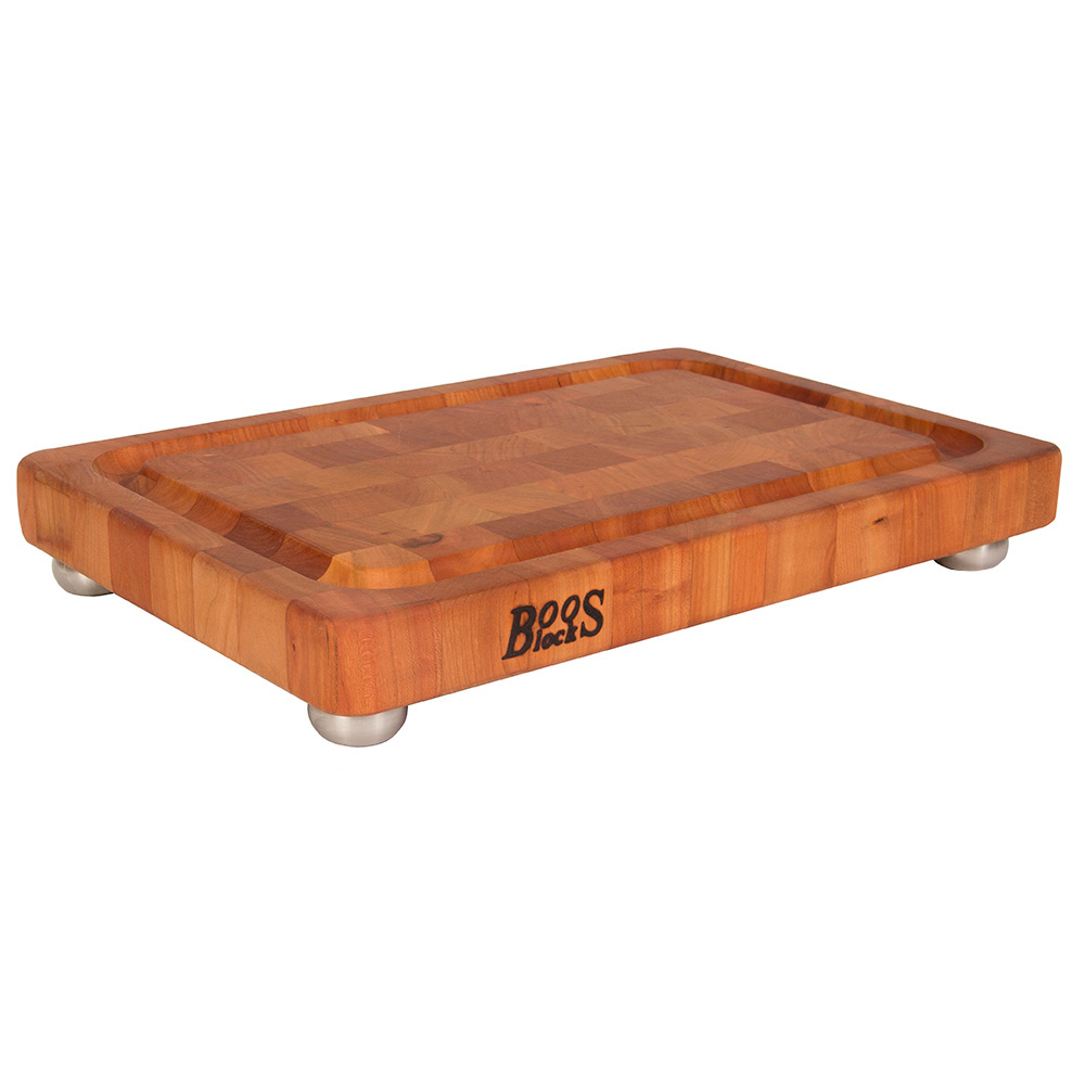 John Boos CHY-1812175-SSF Cutting Board, Cherry, Juice Groove, SS Bun Feet, 18 x 12 x 1-3/4 in Thick