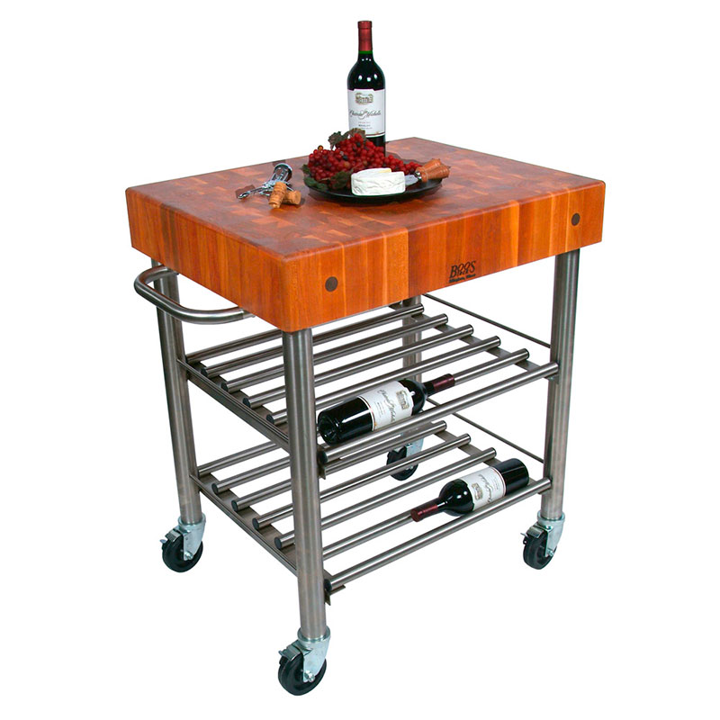John Boos CHY-CUCD15WC Cucina D' Amico Wine Cart w/ Cherry Top, 30 x 24-in