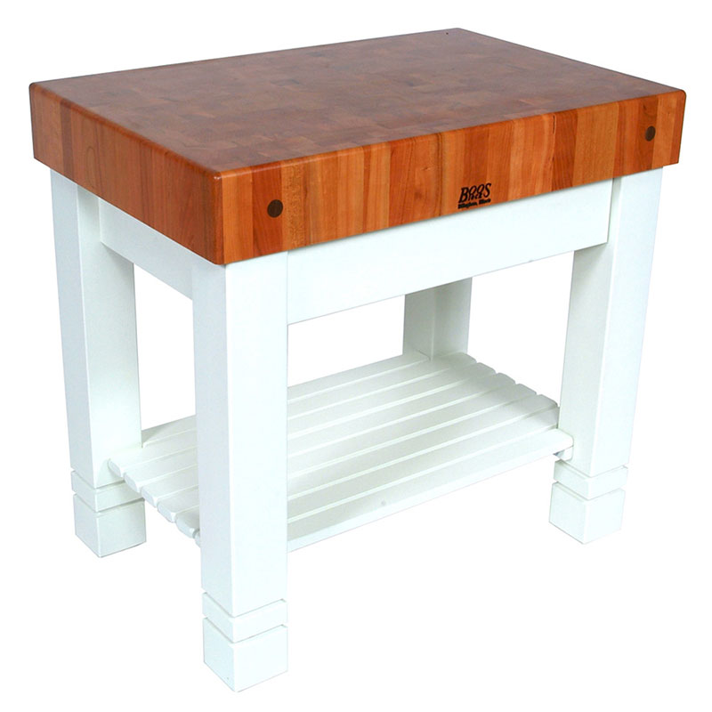 John Boos CHY-HMST36245-AL Homestead Block Table 5 in End Grain Cherry Alabaster Base 36 x 24 in Restaurant Supply