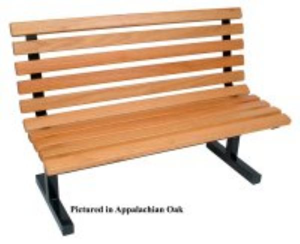 John Boos CPB72-M Convenience Park Bench With Back, Slatted, Steel Tube Frame, 72 in Maple