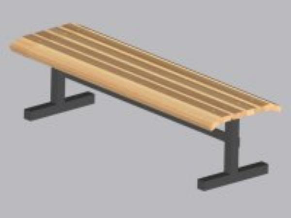 John Boos CPF72M Convenience Park Bench No Back, Slatted, Steel Tube F