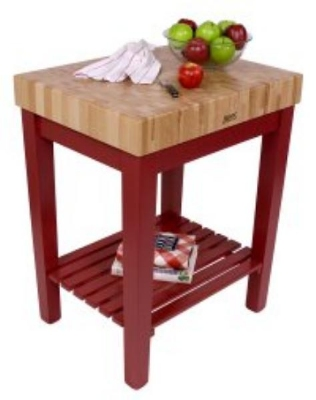 John Boos CUCB3024S Chef Block 4 in Hard Rock Maple 30 x 24 in Lower Shelf Choose Base Color Restaurant Supply