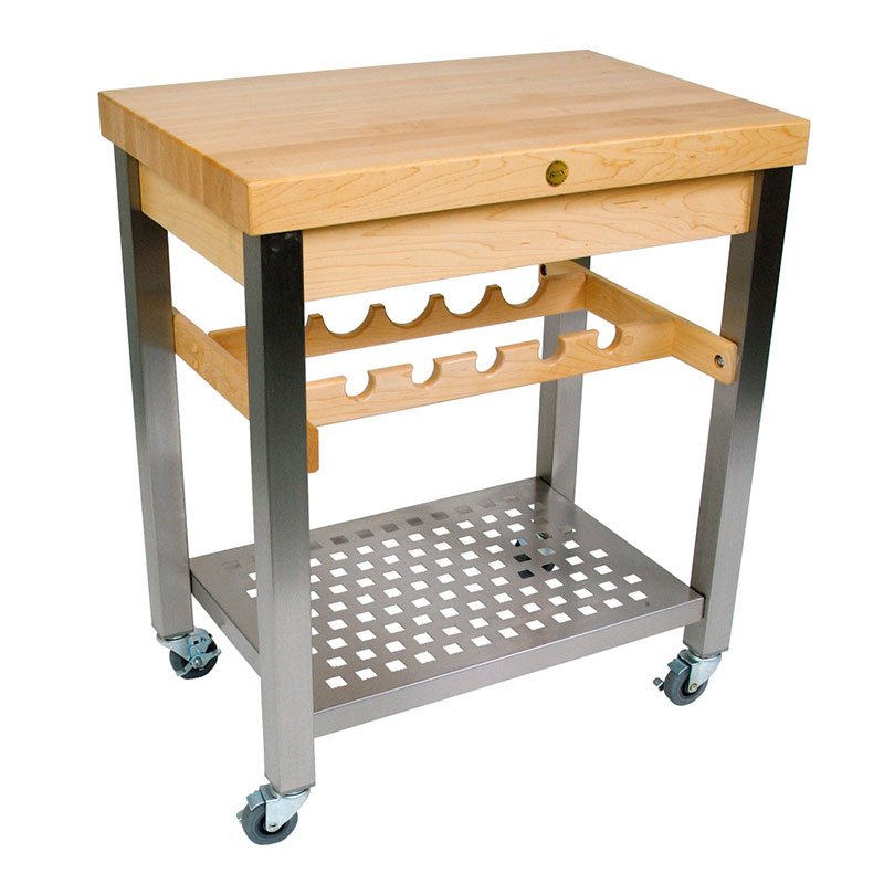 John Boos CUCD09 Cucina D'Vino Cart w/ Hard Rock Maple Top & Wine Rack, 35x20x3
