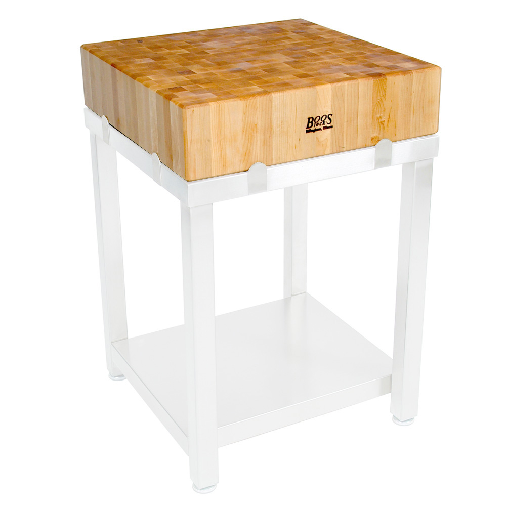 John Boos CUCLA24T Cucina Laforza Butcher Block, 24 in W x 24 in L x 6 in H, TOP ONLY, Maple