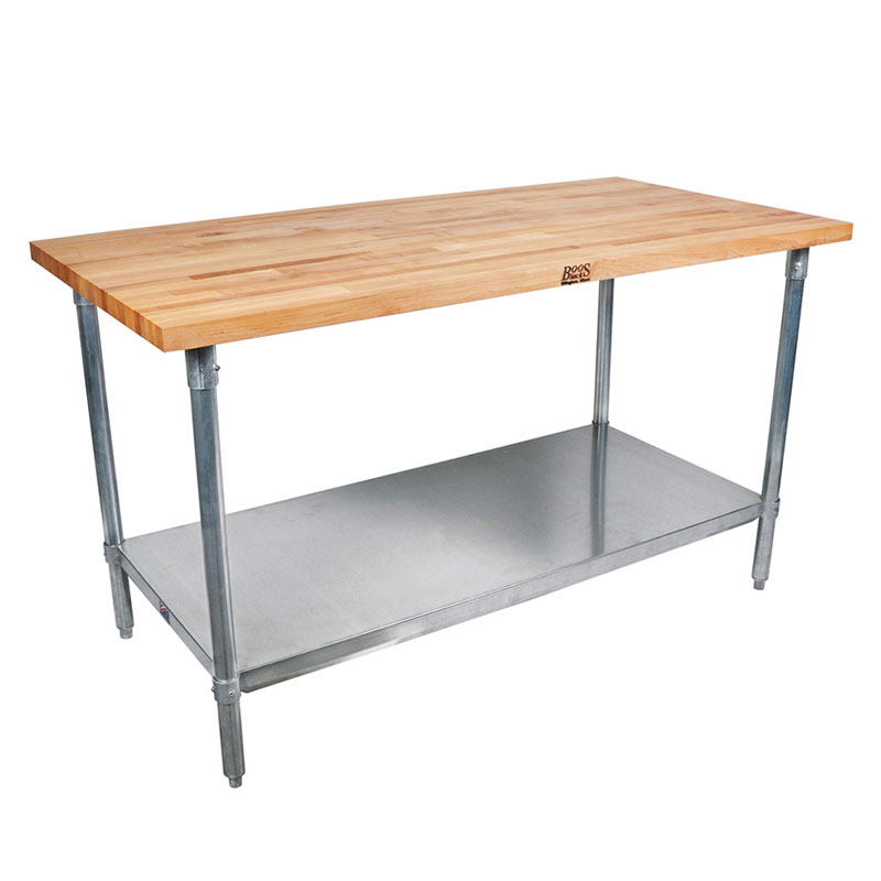 John Boos CUCSN09 Cucina Grandioso Work Table w/ Hard Rock Maple Flat Top, 36x60x30-in