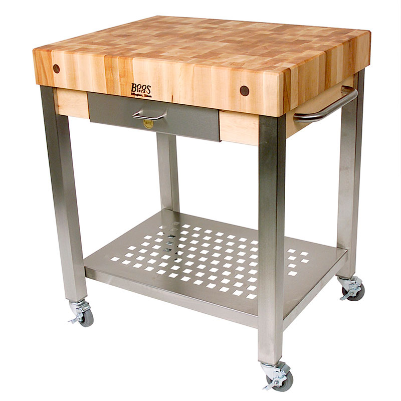 John Boos CUCT14 Cucina Technica Cart, S/S Undershelf, 4 in Rock Maple To