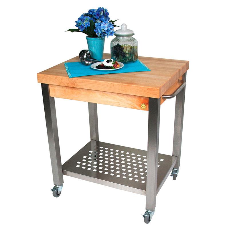 John Boos CUCT34 Cucina Technica Cart, S/S Undershelf, 2-1/4 in Rock Maple Top