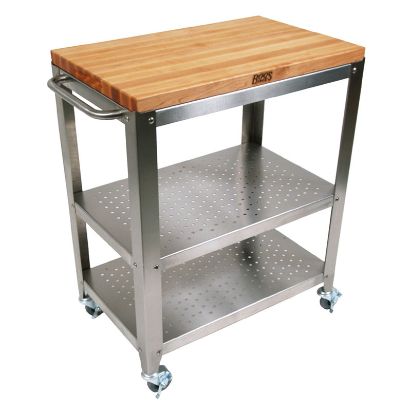 John Boos CU-CULART30 Cucina Culinarte' Cart, 20 in W x 30 in L x 35 in H, Removable Top, S/S Shelf