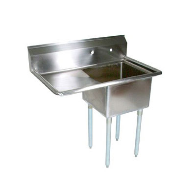 John Boos E1S8-18-12L18 38.5-in Sink, (1) 18x18x12-in Bowl, 18-in Drainboard, Galvanized