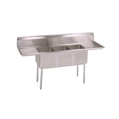 John Boos E3S8-1014-10T15 60-in Sink, (3) 10x14x10-in Bowl, (2) 15-in Drainboards, 18-ga Stainless Legs
