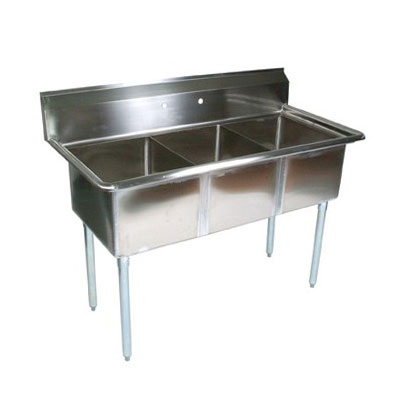 "John Boos E3S8-15-14 Sink - (3)15x15x14"" Bowls, 10"" Backsplash, 18-ga Stainless"