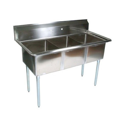 John Boos E3S8-18-12 59-in Sink w/ (3) 18 x 18 x 12-in Bowl, Galvanized