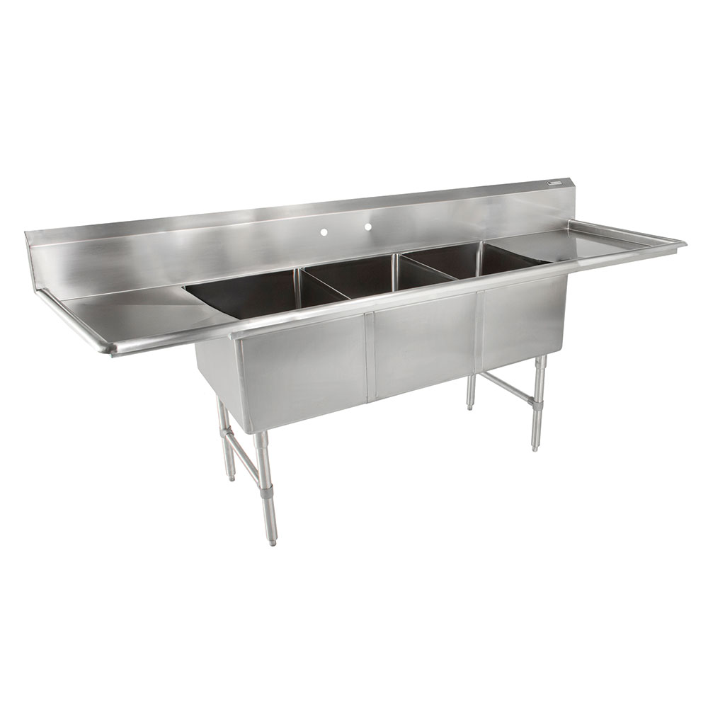 John Boos E3S8-18-14T24 102-in Sink, (3) 18x18x14-in Bowl, (2) 24-in Drain