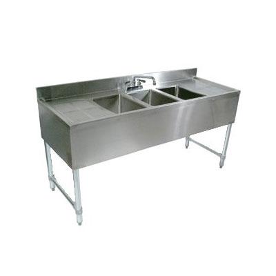 "John Boos EUB2S48-2D Underbar Sink - (2)10x14x10"" Bowls, (2)12"" Drainboards, 48x21"", 18-ga Stainless"