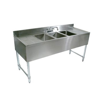 "John Boos EUB3S40 Underbar Sink - (3)10x14x10"" Bowls, 4"" Backsplash, 40x21"", 18-ga Stainless"