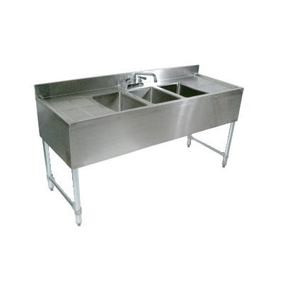"John Boos EUB3S40SL Underbar Sink - (3)10x14x10"" Bowls, 4"" Backsplash, 40x18"", 18-ga Stainless"