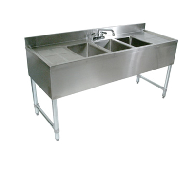 "John Boos EUB3S48SL-1LD Underbar Sink - (3)10x14x10"" Bowls, 12"" Left Drainboard, 48x21"", 18-ga Stainless"