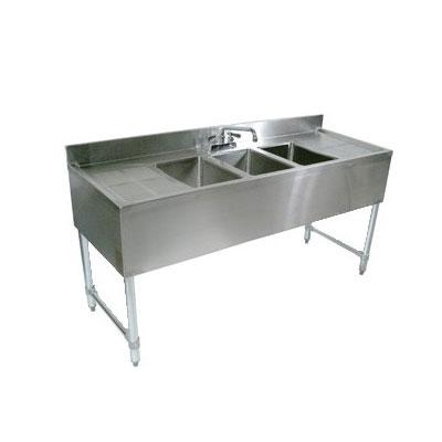 "John Boos EUB3S48SL-1RD Underbar Sink - (3)10x14x10"" Bowls, 12"" Right Drainboard, 40x21"", 18-ga Stainless"