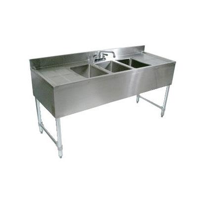 "John Boos EUB3S60-1LD Underbar Sink - (3)10x14x10"" Bowls, 12"" Left Drainboard, 60x21"", 18-ga Stainless"