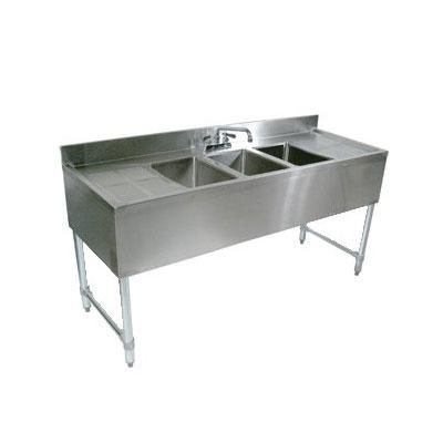 "John Boos EUB3S60-1RD Underbar Sink - (3)10x14x10"" Bowls, 12"" Right Drainboard, 60x21"", 18-ga Stainless"