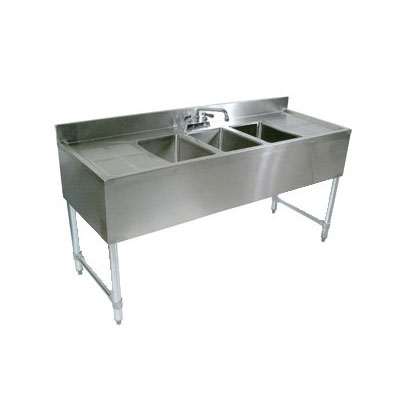 "John Boos EUB3S84-2D Underbar Sink - (3)10x14x10"" Bowls, 2 Drainboards, 84x21"", 18-ga Stainless"