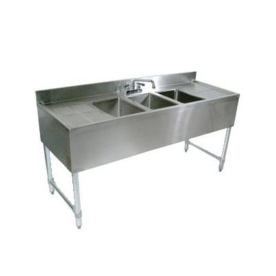 "John Boos EUB3S84SL-2D Underbar Sink - (3)10x14x10"" Bowls, 2 Drainboards, 84x18"", 18-ga Stainless"