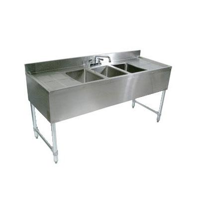 "John Boos EUB3S96-2D Underbar Sink - (3)10x14x10"" Bowls, 2 Drainboards, 96x21"", 18-ga Stainless"