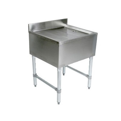John Boos EUBD-1821 Underbar Stamped Ribbed Drainboard w/ Galvanized Legs,