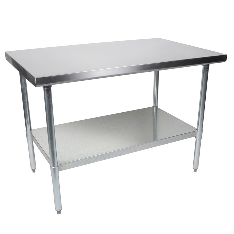 John Boos FBLG9624 Flat Top Work Table w/ Galvanized Legs &am
