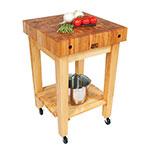 John Boos GB-C Butcher Block Table, 4-in Hard Rock Maple Top, Casters, 24 x 24-in