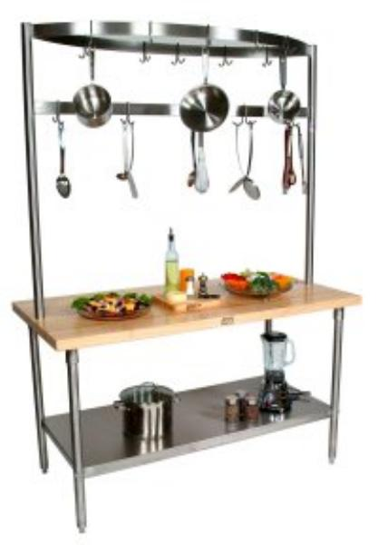 John Boos GRA02C Cucina Grandioso Work Table, S/S Shelf, Drawer, Pot Rack, 48 x 24 x 84 in