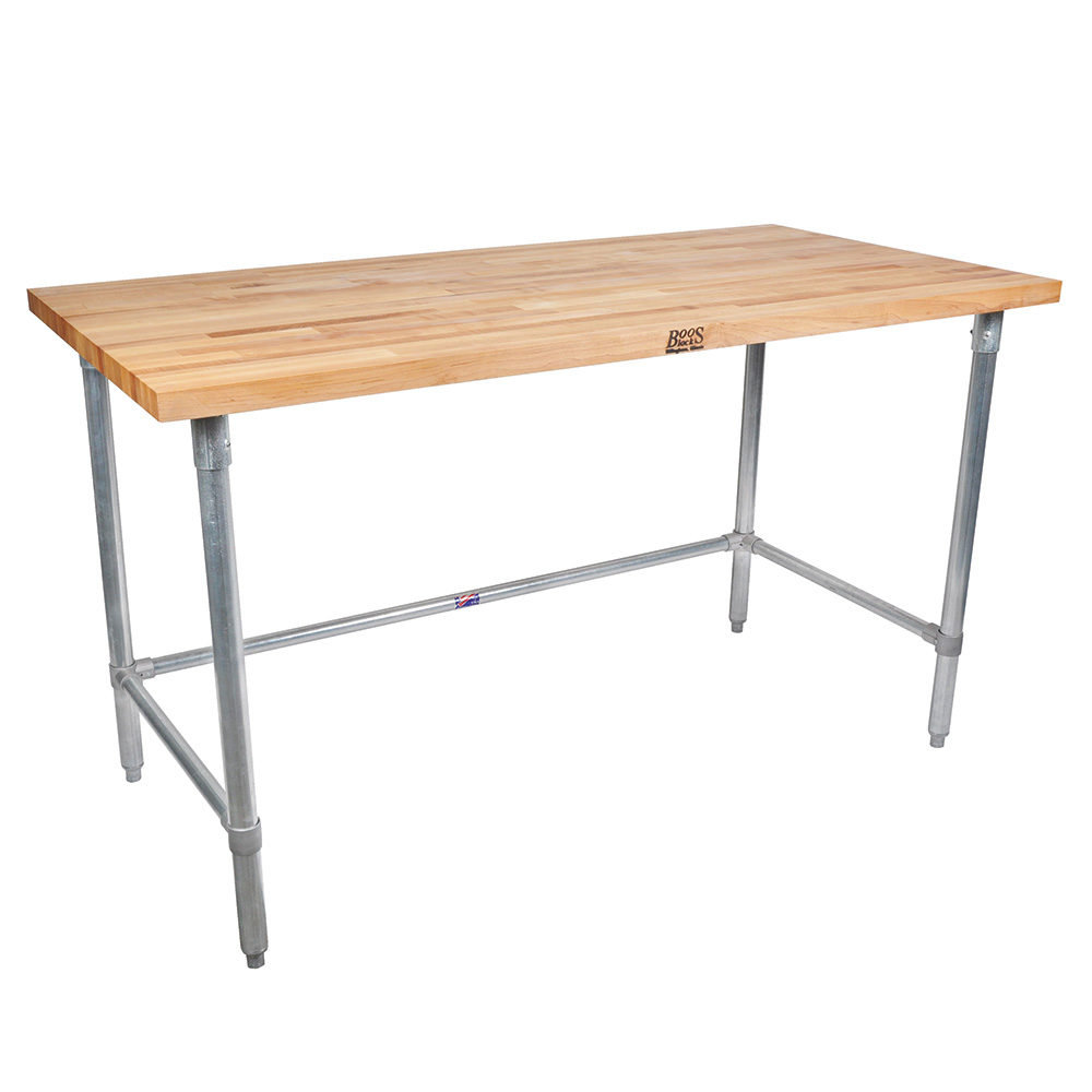 "John Boos JNB11 Work Table - 1-1/2"" Maple Top, 96x30"", Galvanized Legs"