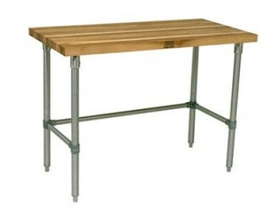 John Boos JNB02 Hard Rock Maple Work Table, Galvanized Legs, 24 x 48 x 36-in H