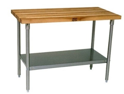 John Boos JNS02 Hard Rock Maple Work Table, Galvanized She