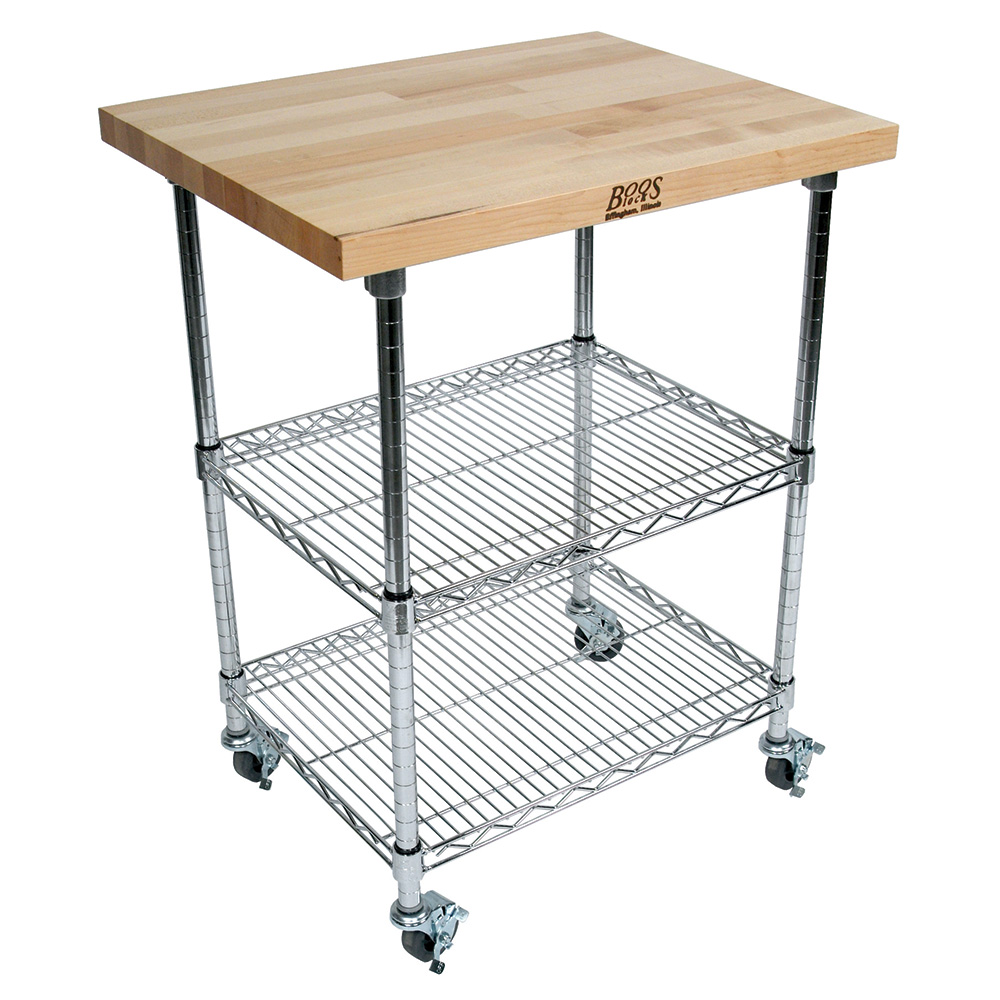 John Boos MET-MWCK-2 Mobile Cart - Maple Top, Adjustable Shelves, 2