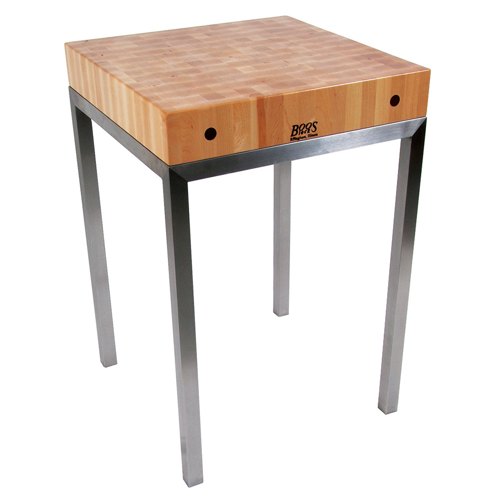 John Boos MET-STN24 Metropolitan Station Kitchen Island Table, 24 W x 24 in W x 36 in H, 4 in Thick